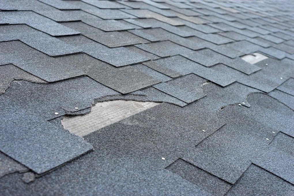 asphalt roof damage